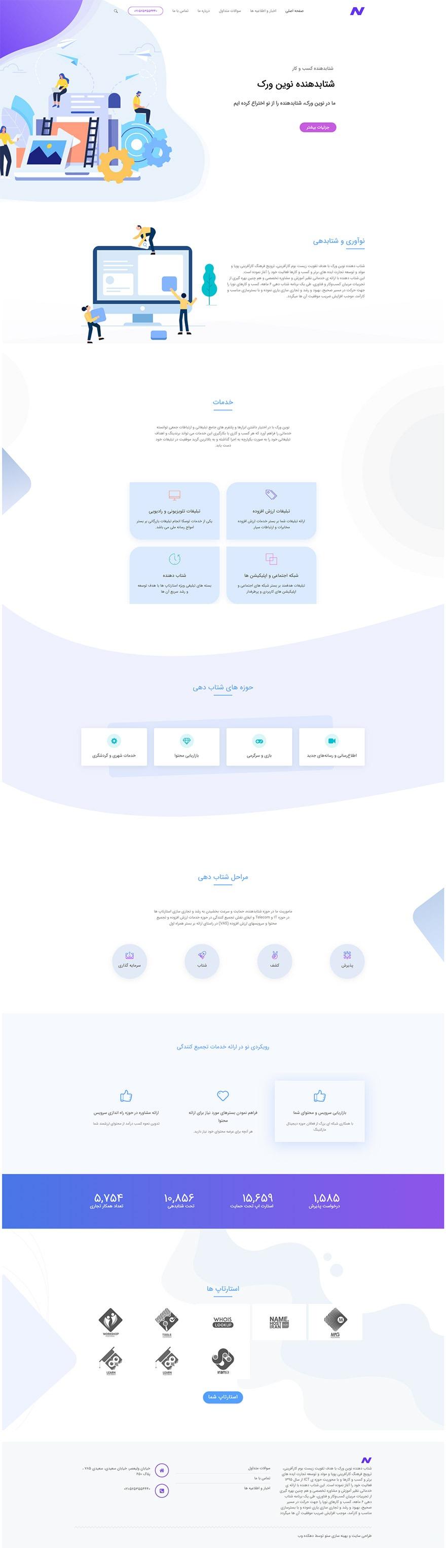 طراحی سایت شرکت شتابدهنده نوین ورک