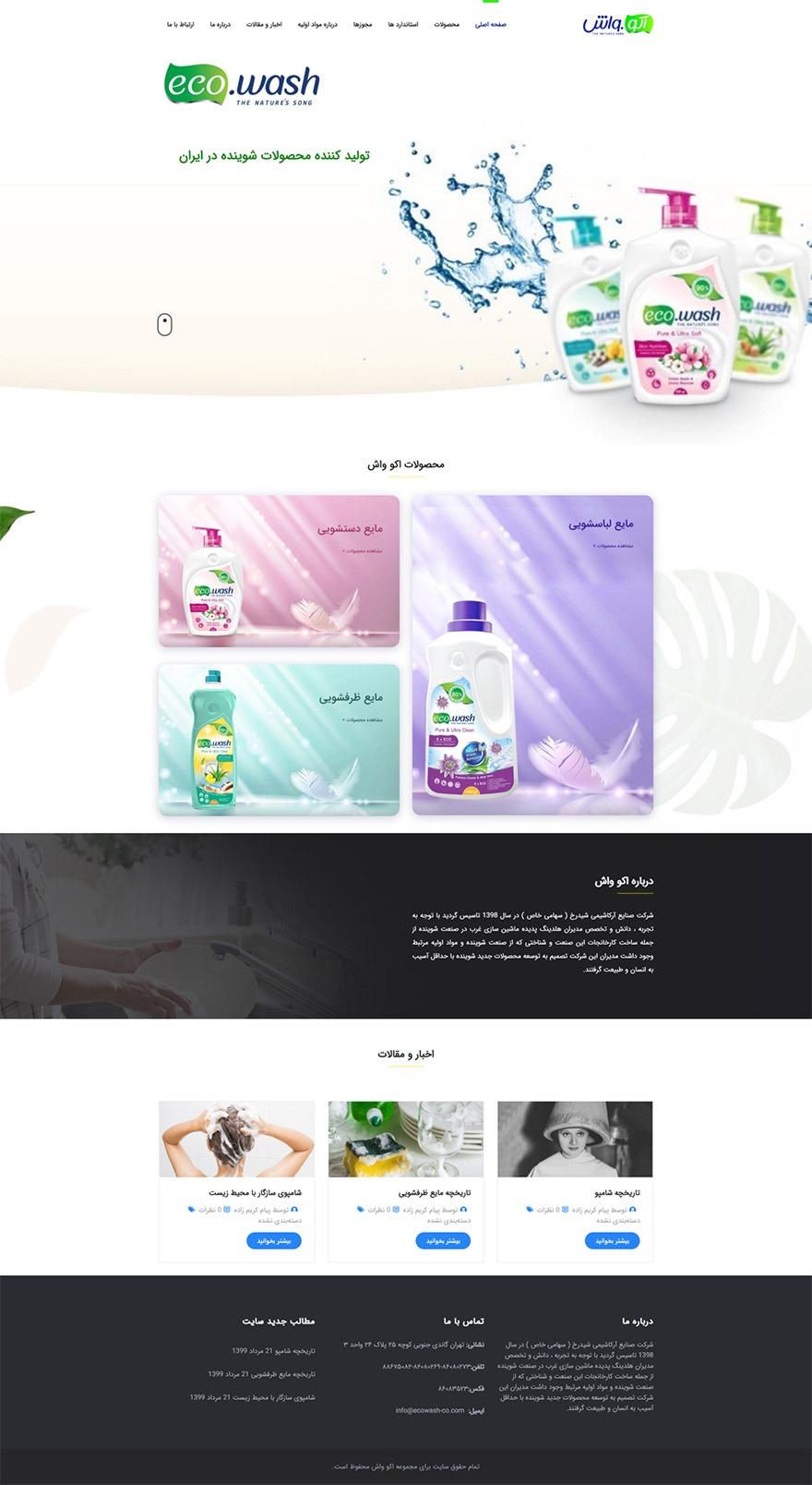 طراحی سایت اکو واش